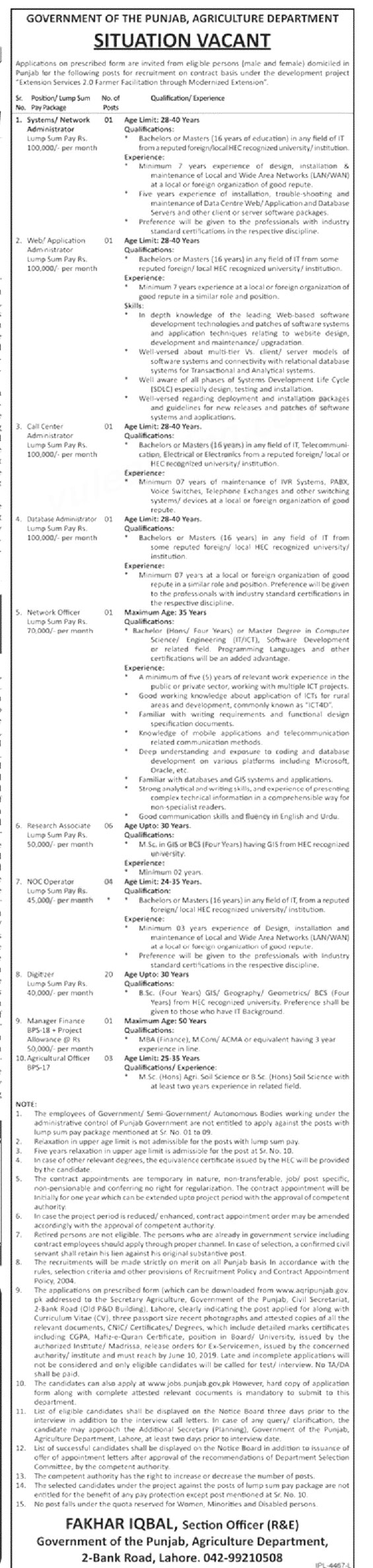 Jobs In Agriculture Department Punjab 2019