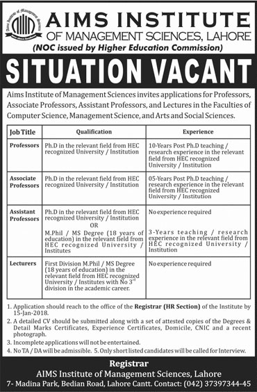 Jobs In Aims Institute 07 Jan 2018
