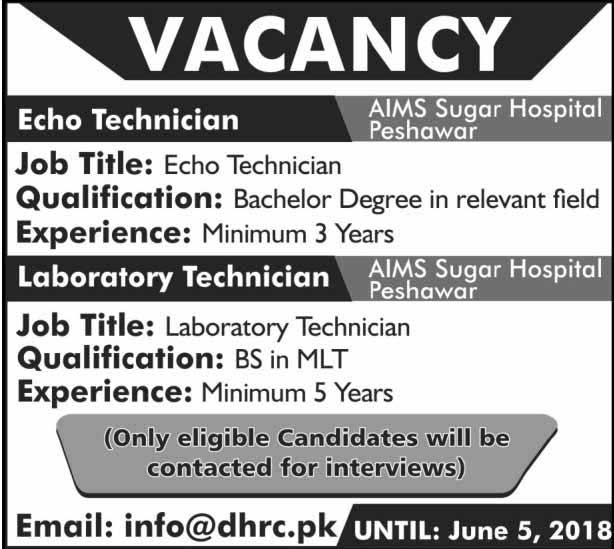 Jobs in Aims Sugar Hospital Peshawar 30 May 2018