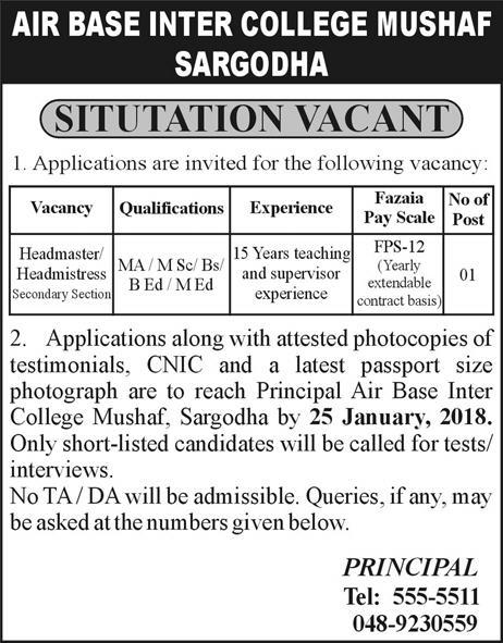 Jobs In Air Base Inter College Mushaf 17 Jan 2018