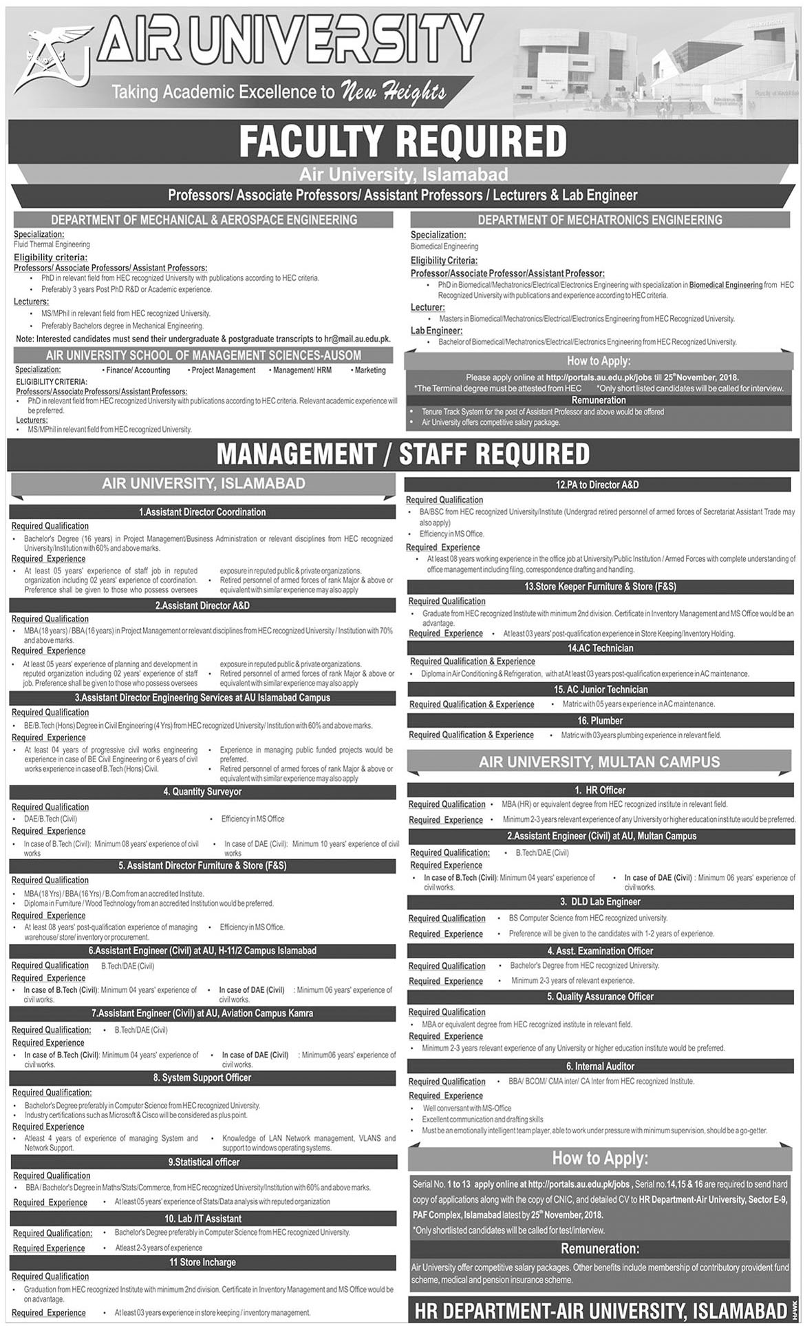 Jobs In Air University Islamabad 12 Nov 2018