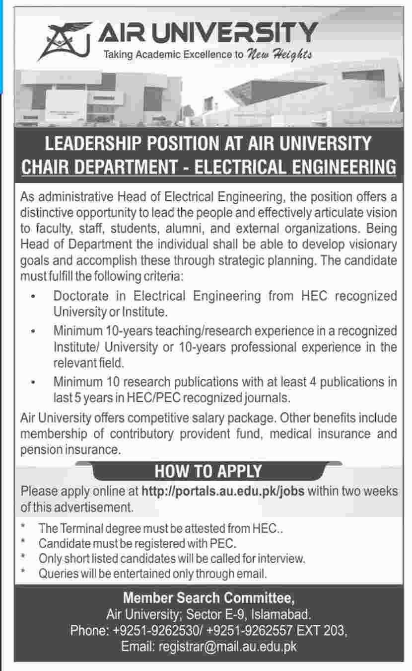 Jobs in Air University Islamabad 24 June 2018