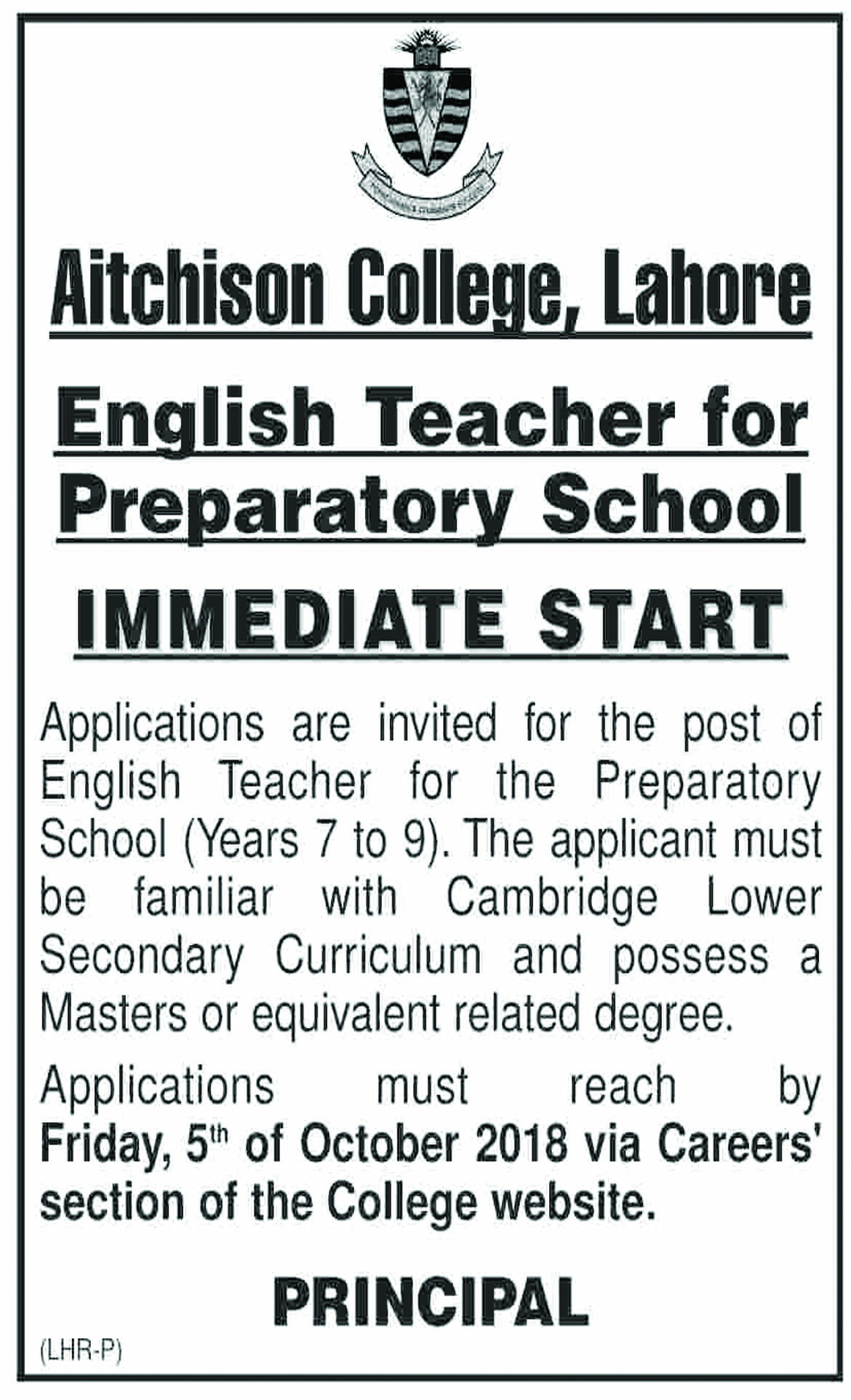 Jobs In Aitchison College Lahore 27 Sep 2018