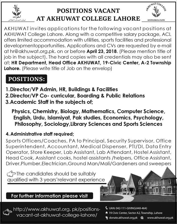 Jobs in Akhuwat College Lahore 15 April 2018