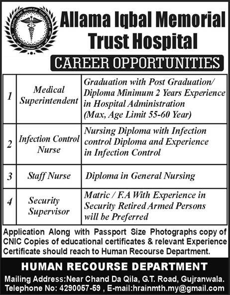 Jobs In Allama Iqbal Memorial Trust Hospital 30 Jan 2018