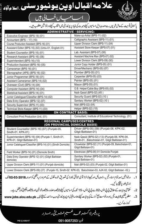 Jobs in Allama Iqbal Open University Islamabad 15 Feb 2018