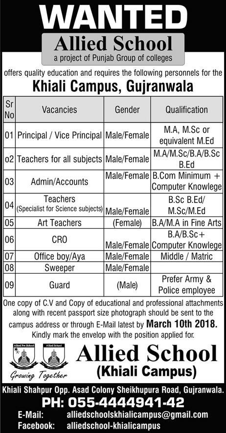 Jobs In Allied School Gujranwala 27 Feb 2018