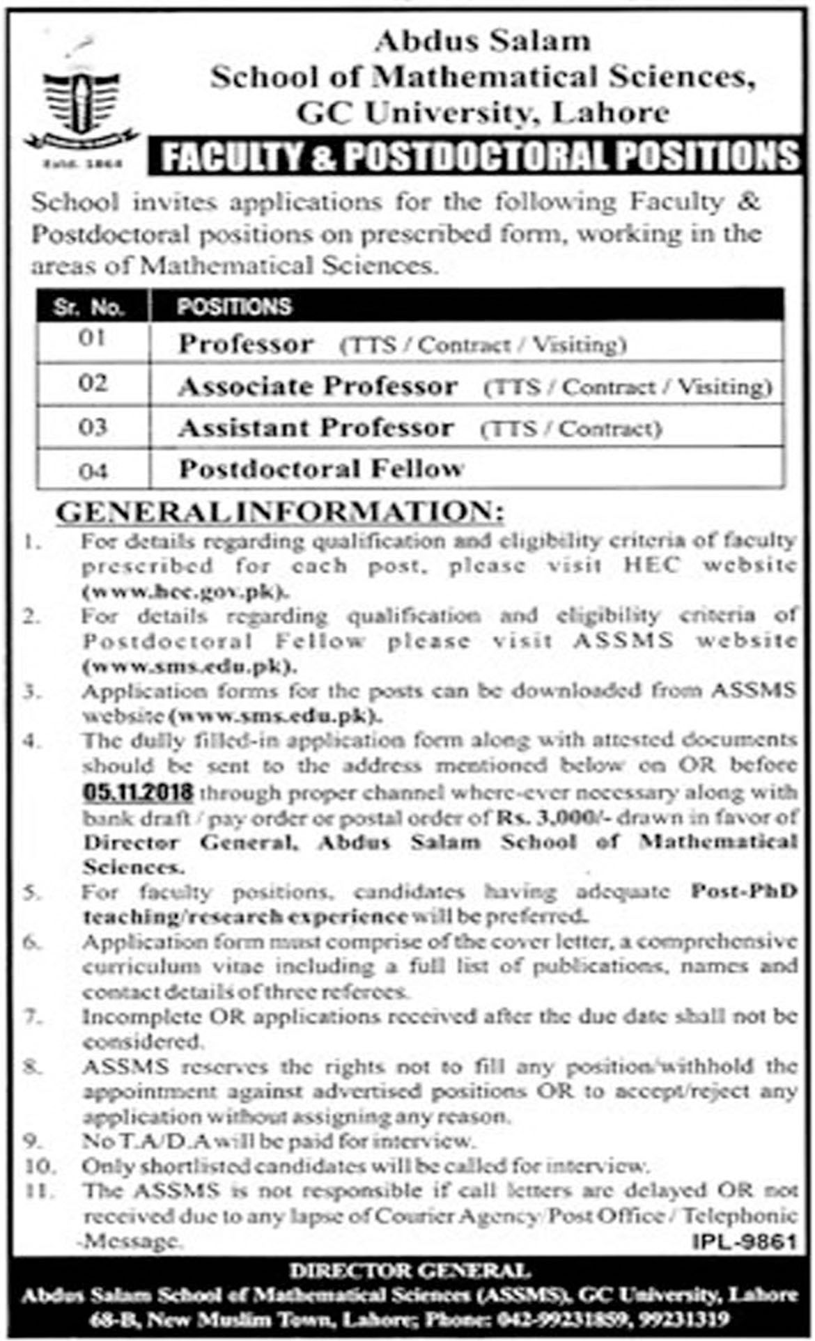 Jobs In  Announces By Govt College GC University Lahore 09 Oct 2018