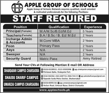 Jobs in Apple Group of School 07 March 2018
