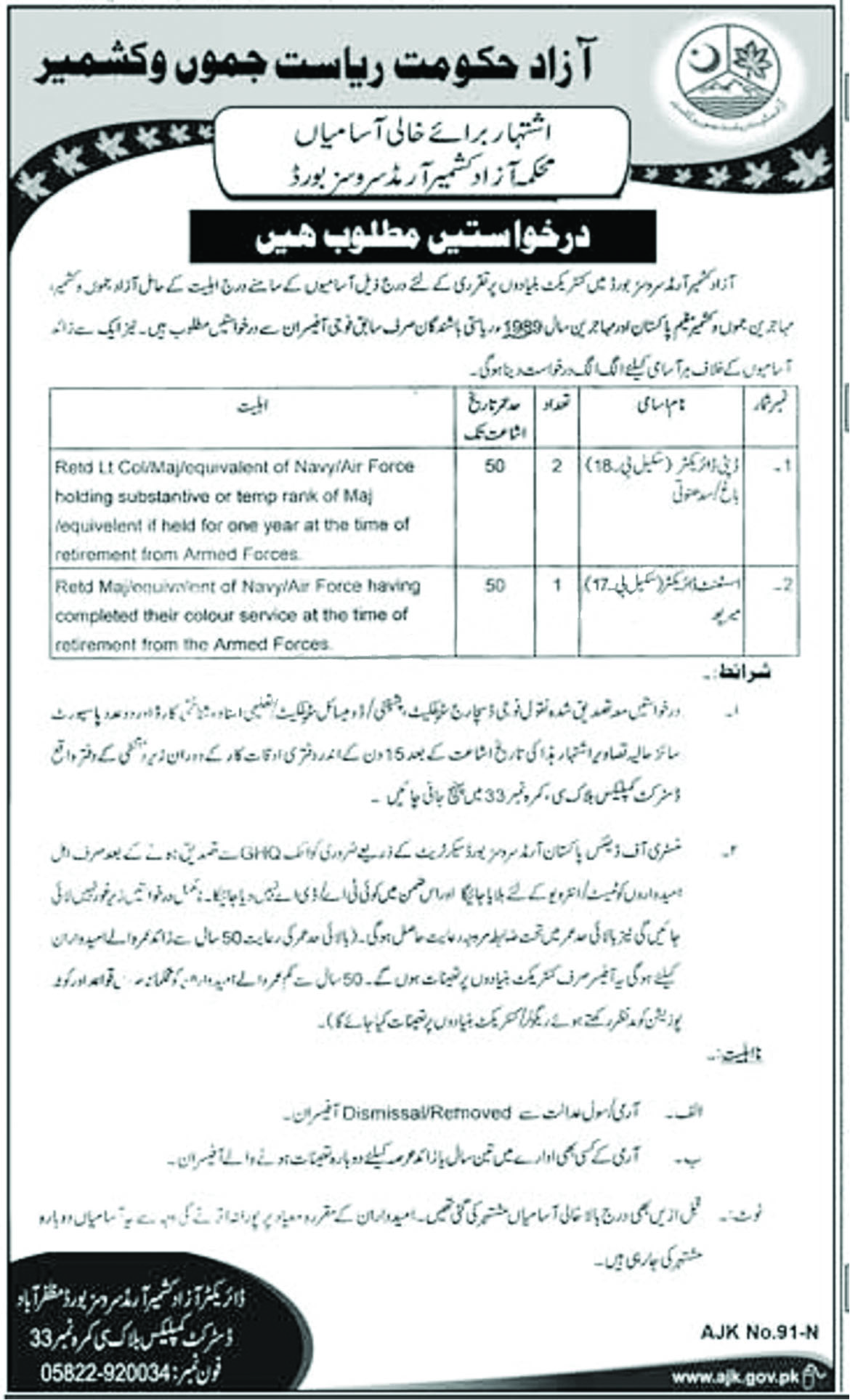 Jobs In Armed Services Board AJK 14 Sep 2018