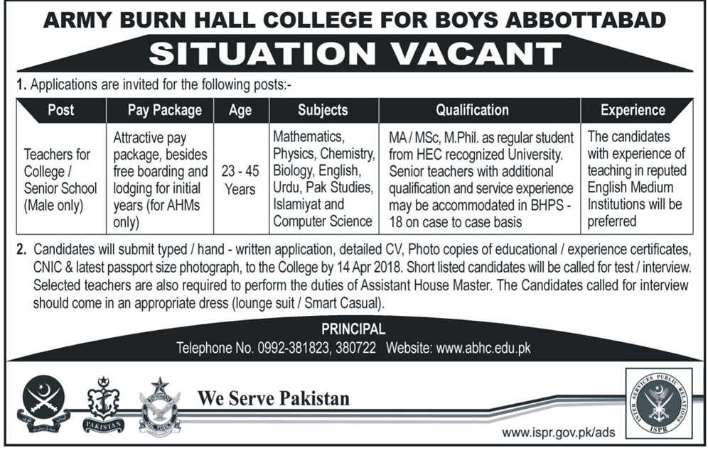 Jobs in Army Burn Hall College For Boys Abbottabad 08 April 2018