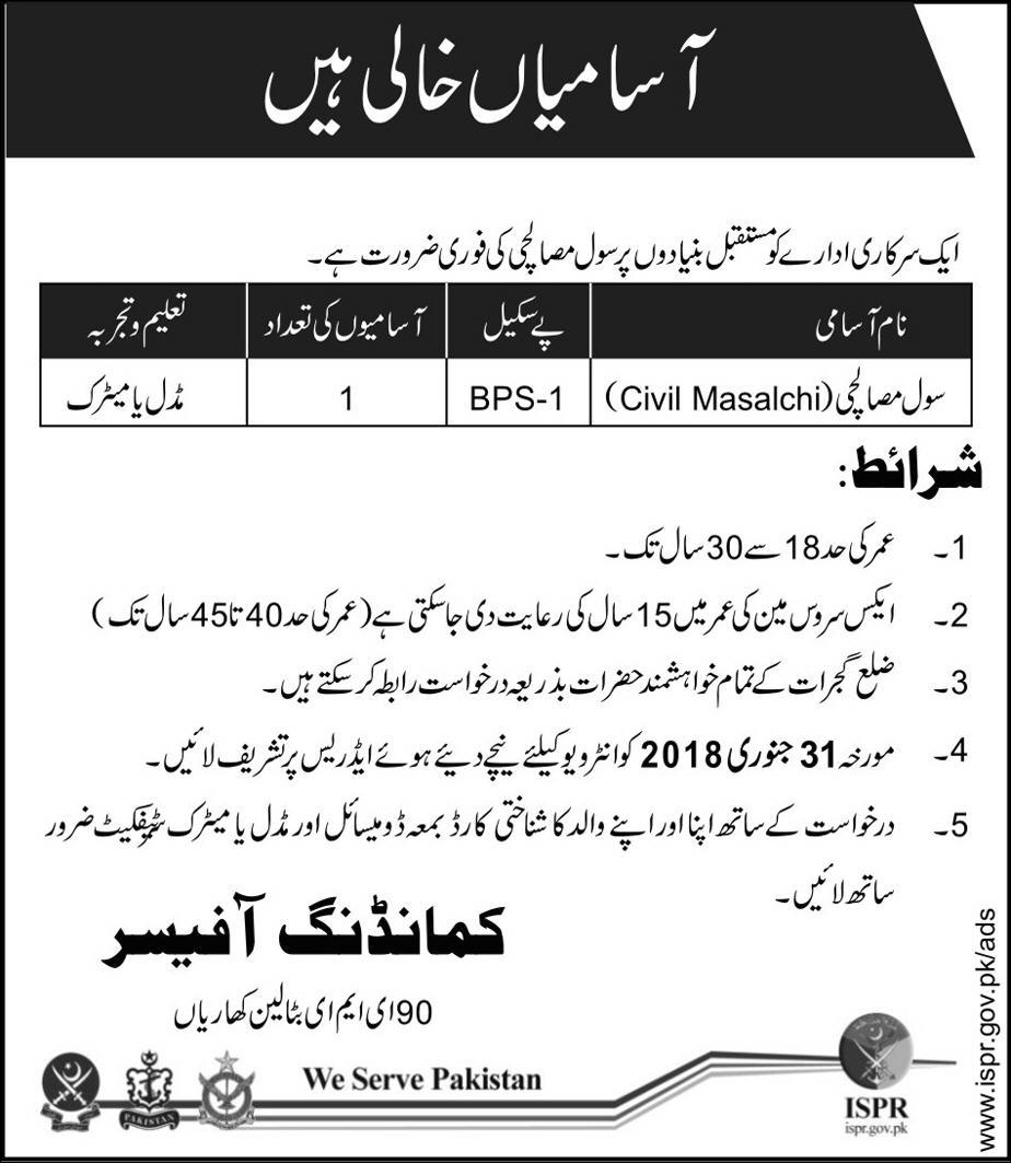 Jobs In Army Department 02 Jan 2018