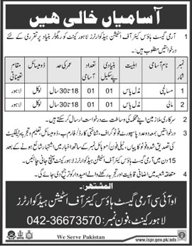 Jobs in Army Guest House Care of Station Head Quarter 24 Feb 2018