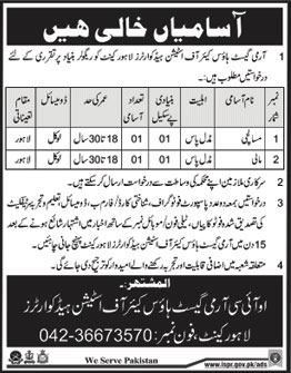 Jobs in Army Guest House Care of Station Head Quarters in Lahore 03 March 2018