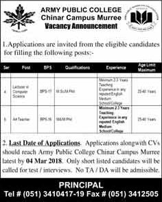 Jobs in Army Public College Chinar Campus 25 Feb 2018