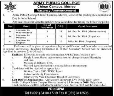 Jobs in Army Public College in Murree 04 Feb 2018