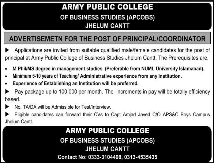Jobs in Army Public College Jhelum Cantt 24 June 2018