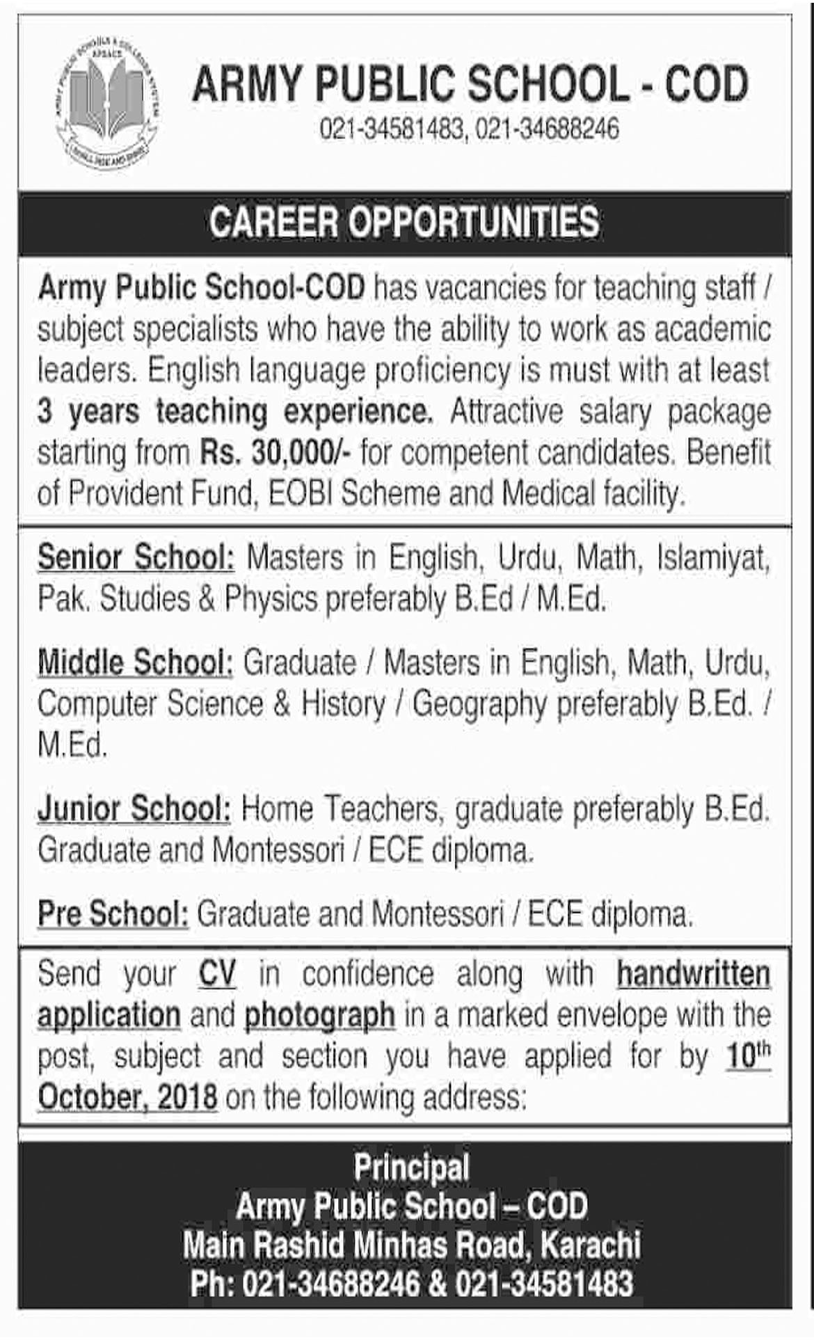 Jobs In Army Public School And College 02 Oct 2018