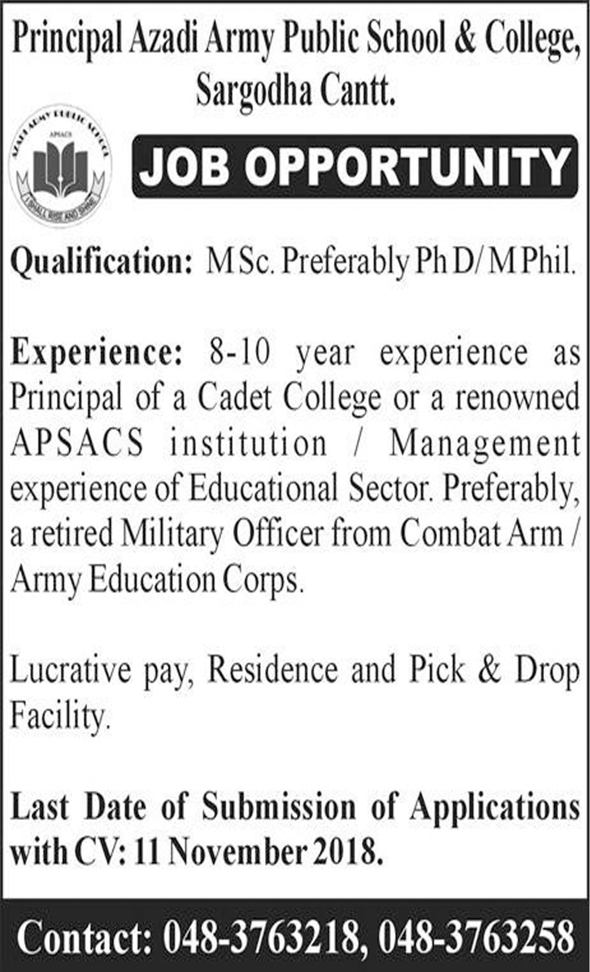Jobs In Army Public School And College 05 Nov 2018