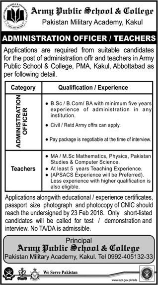 Jobs in Army Public School and College System 11 Feb 2018