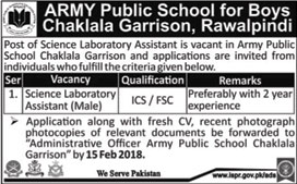 Jobs in Army Public School Chakla Garrison in Rawalpindi 17 Feb 2018