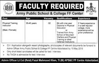 Jobs in Army Public School & College FF Center Abbottabad 08 May 2018