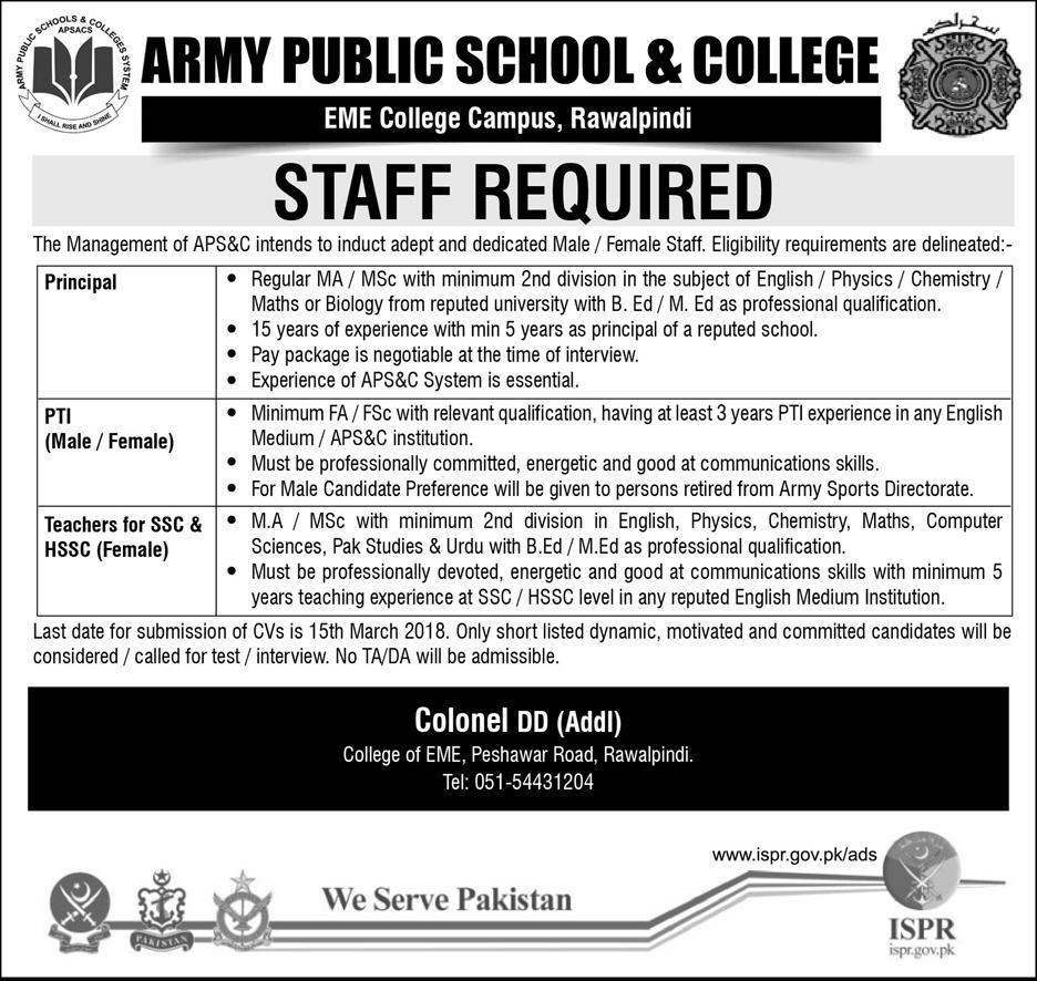 Jobs In Army Public School & Colleges 21 Feb 2018