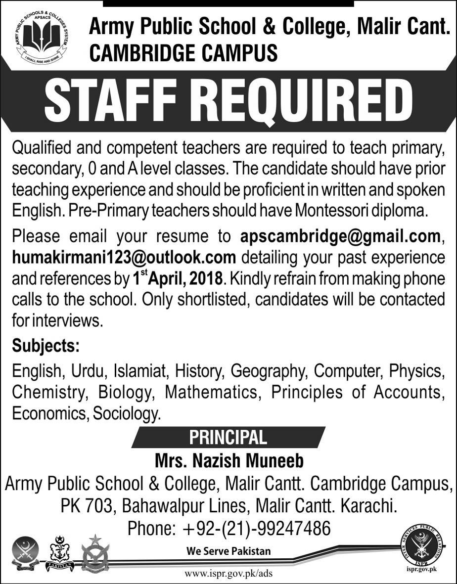 Jobs In Army Public School & Colleges System 25 Mar 2018