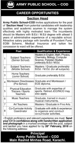 Jobs in Army Public School in Karachi 18 Feb 2018