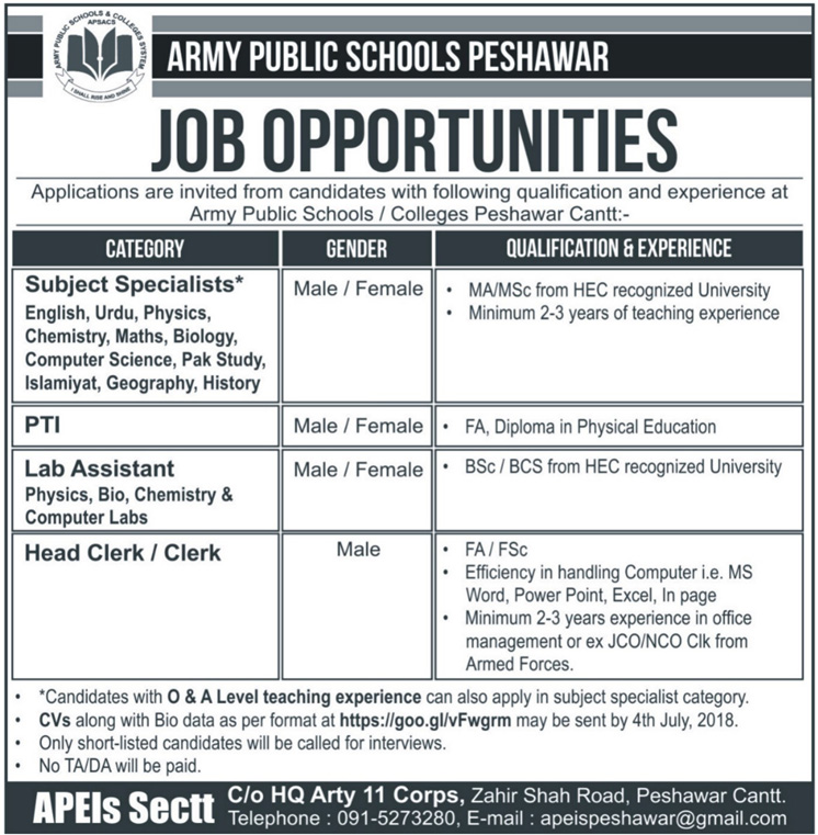 Jobs in Army Public School Peshawar 24 June 2018
