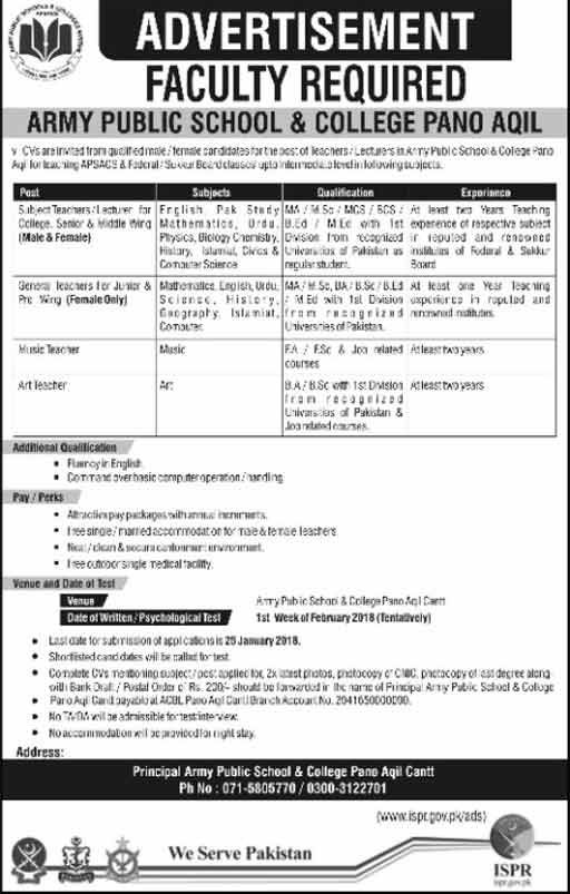 Jobs in Army Public School Sukkur 07 Jan 2018