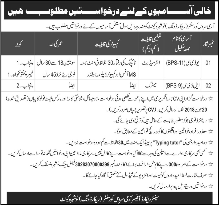 Jobs in Army Service Cover Center 13 June 2018