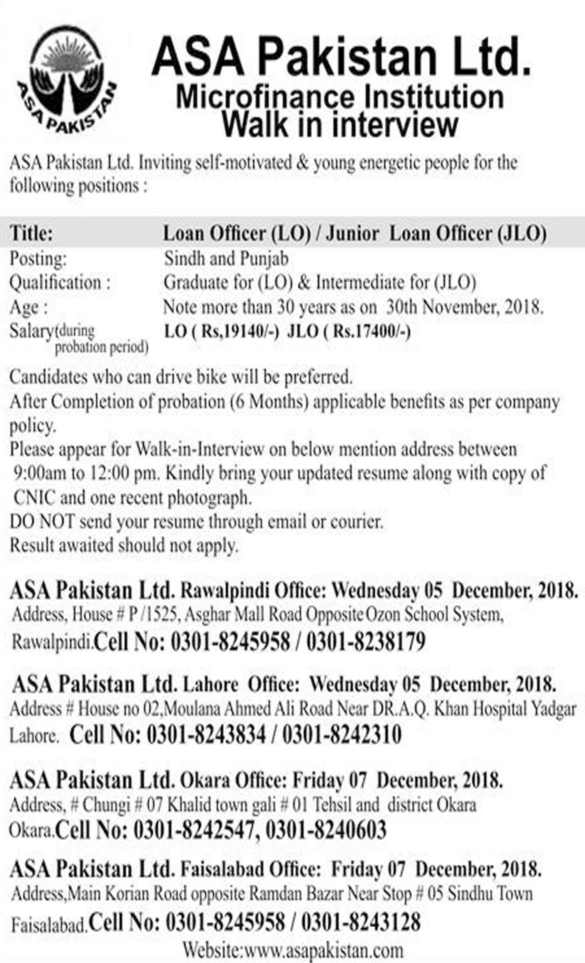 Jobs In ASA Pakistan Limited 07 Dec 2018