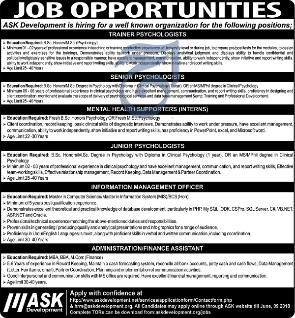 Jobs in Ask Development 03 June 2018