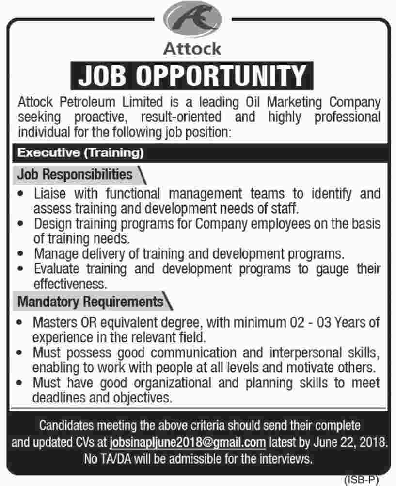 Jobs in Attock Petroleum Limited 12 June 2018