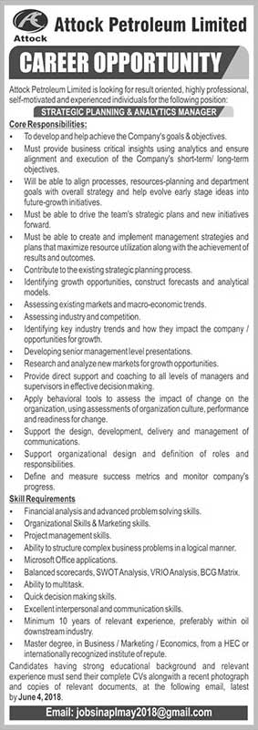 Jobs in Attock Petroleum Limited 25 May 2018