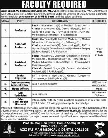 Jobs in Aziz Fatimah Medical and Dental College 03 June 2018