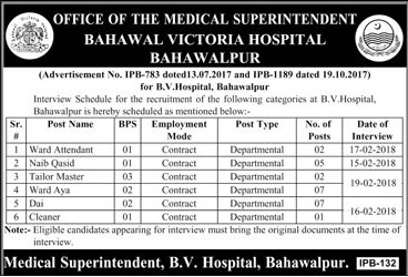 Jobs In Bahawal Victoria Hospital in Bahawalpur 08 Feb 2018