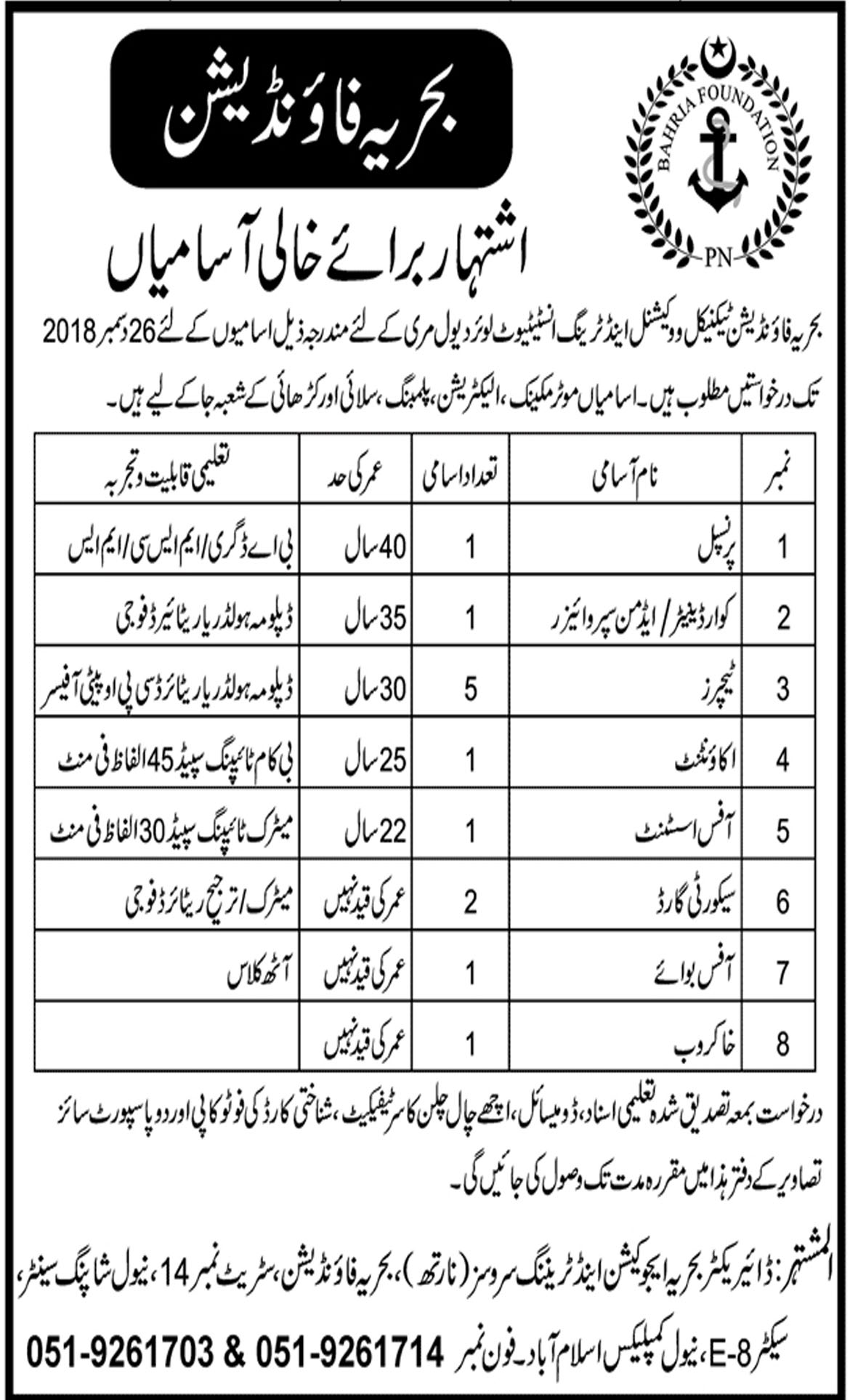 Jobs In Bahria Foundation Training Institute 10 Dec 2018