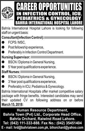 Jobs in Bahria International Hospital 04 March 2018