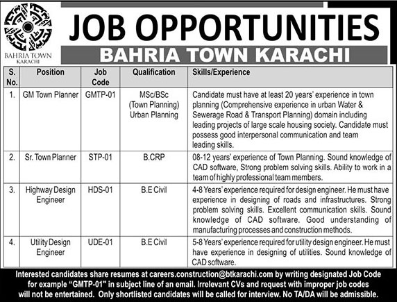 Jobs in Bahria Town Karachi 08 April 2018