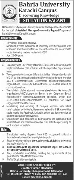 Jobs in Bahria University 04 March 2018