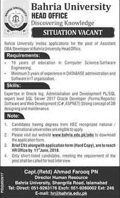 Jobs in Bahria University Head Office 27 May 2018