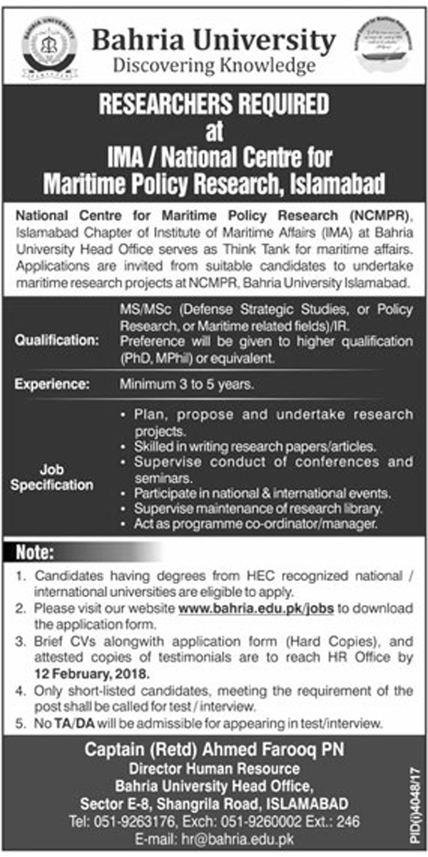 Jobs in Bahria University Islamabad 28 Jan 2018