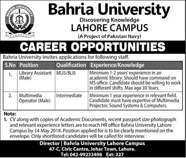 Jobs in Bahria University Lahore 06 May 2018