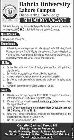 Jobs in Bahria University Lahore Campus 13 May 2018