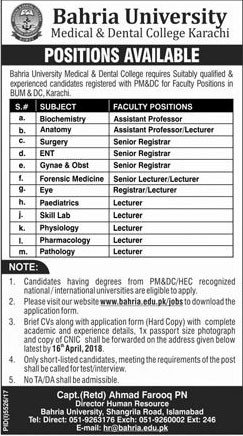 Jobs in Bahria University Medical and Dental College Karachi 08 April 2018