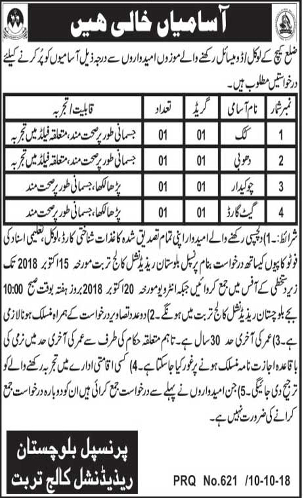 Jobs In Balochistan Residential College 12 Oct 2018