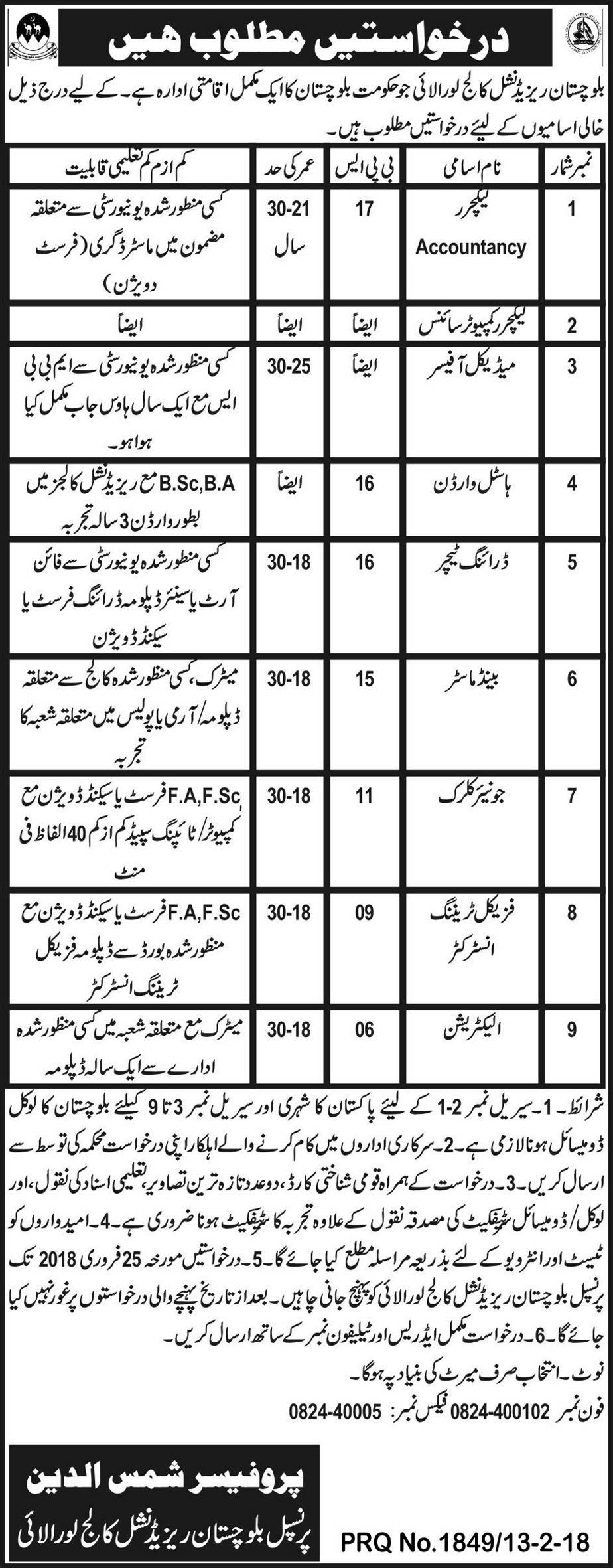 Jobs In Balochistan Residential College 15 Feb 2018