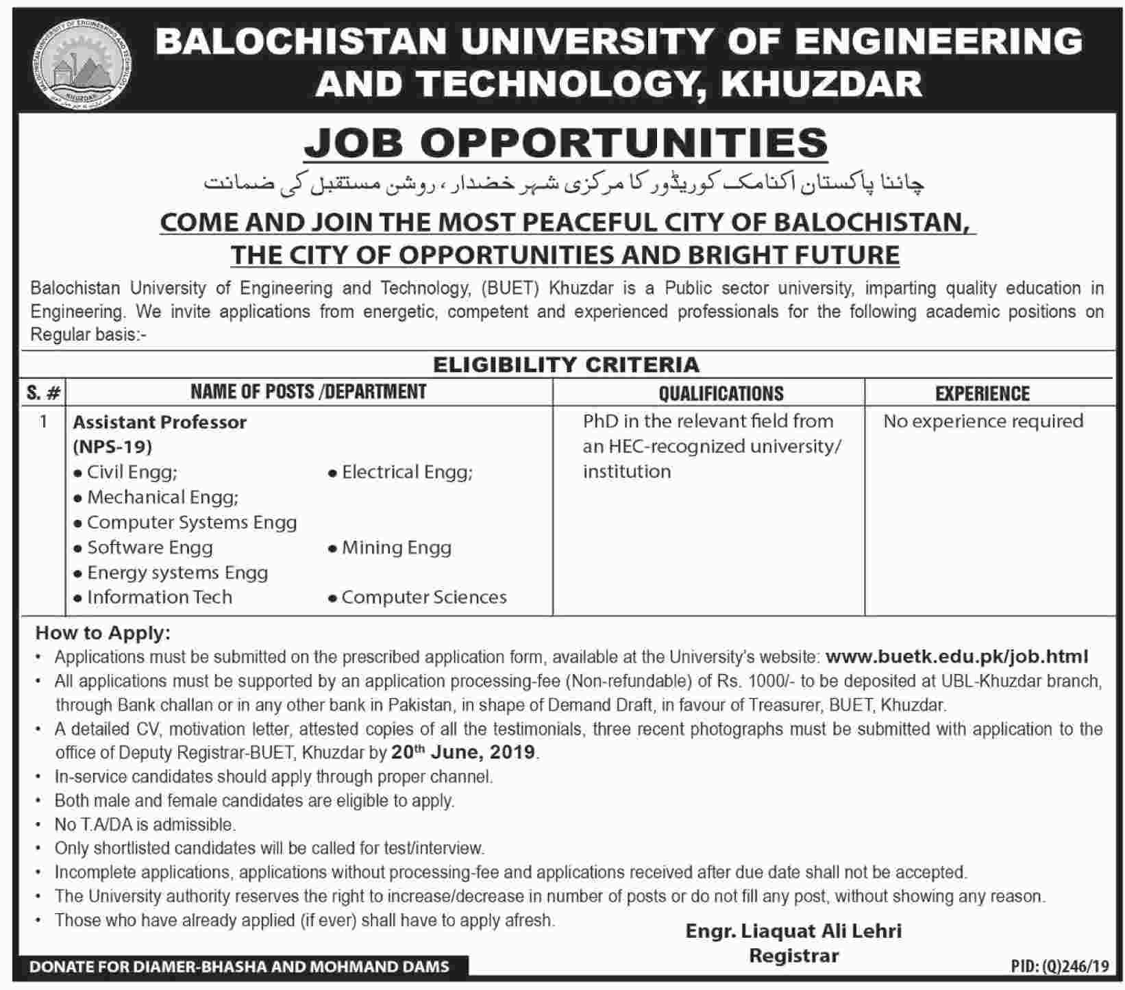 Jobs In Balochistan University Of Engineering and Technology 2019